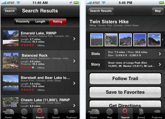 The North Face Trailhead iPhone Application Screenshot