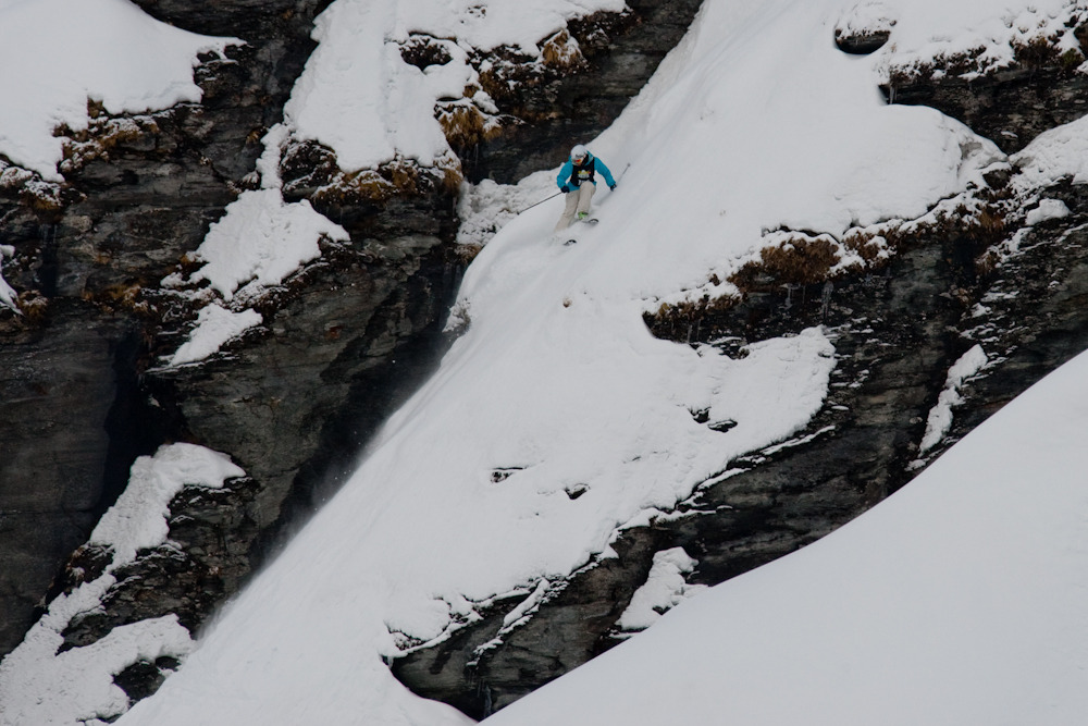 NZ's Janina Kuzma showed the judges why she has earned a spot on the Freeride World Tour. Photo: Camilla Stoddart