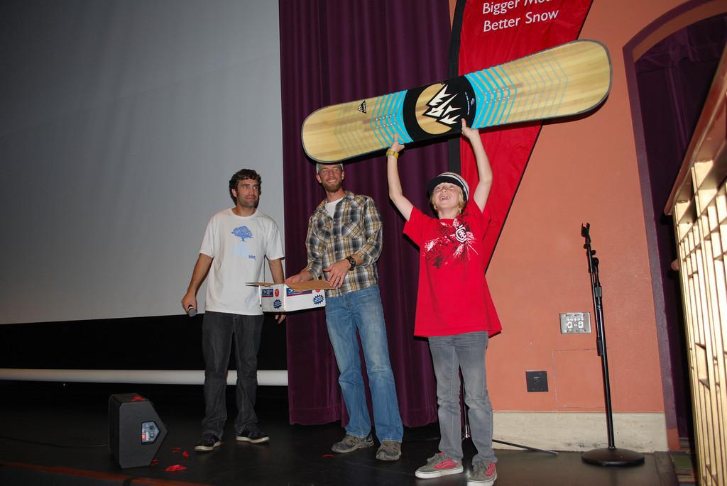 A grom wins a Jones Snowboard
