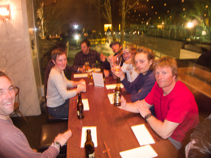 The boys enjoying dinner at the Green Leaf Hotel in Niseko, Japan during the filming of One for the Road