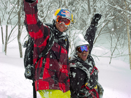 Clayton from Black Diamond Tours and Daron Rahlves in Japan