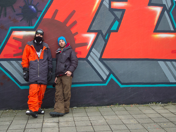 Mark Fisher and Nick Martini in camouflaged into a wall in Iceland