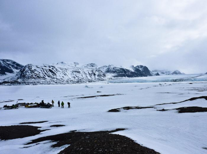 One of many huge glaciers that empties into the fjord