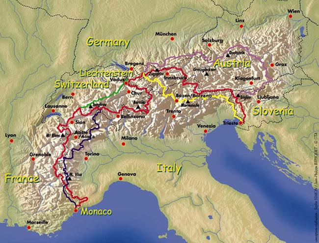 Via Alpina Map