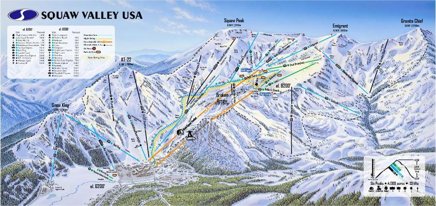 Squaw Valley Tail Map