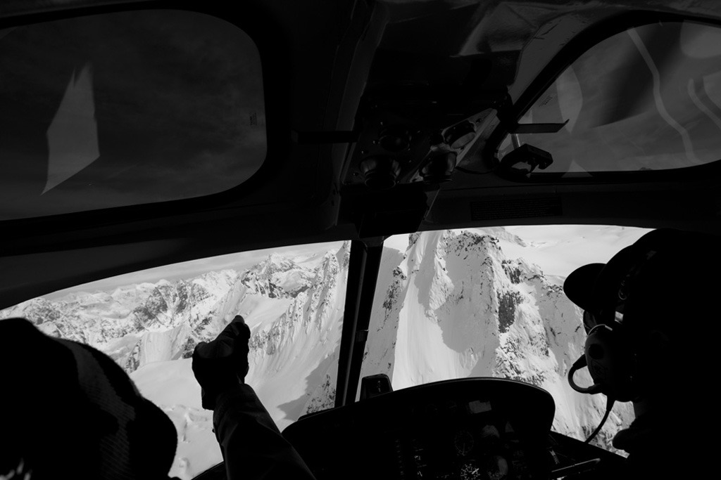 In the helicopter with Adam Clark