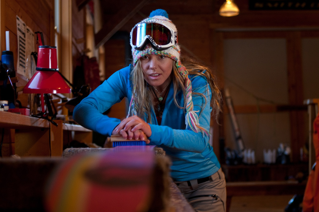 Lynsey Dyer waxes her skis