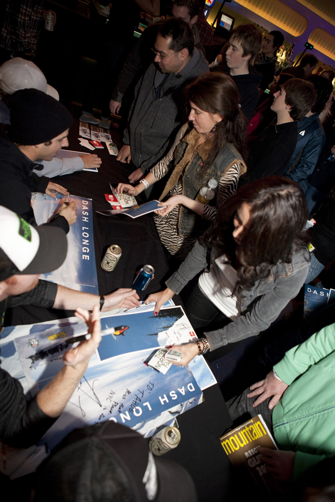 Signing posters at the One For The Road NYC premiere