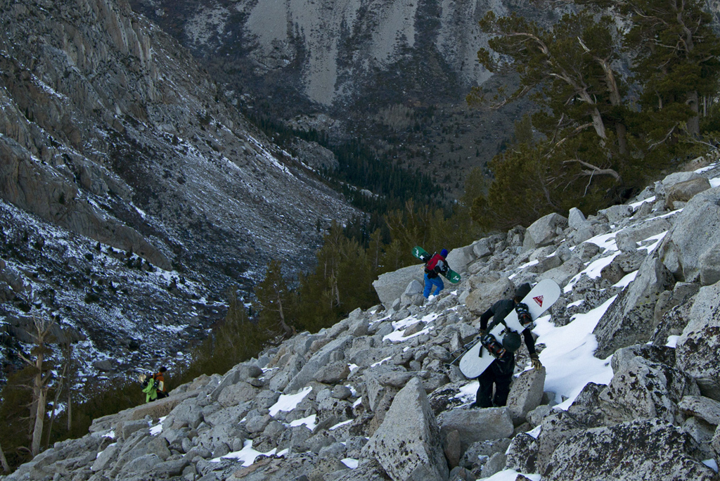 Climbing down from the Hulk Couloir
