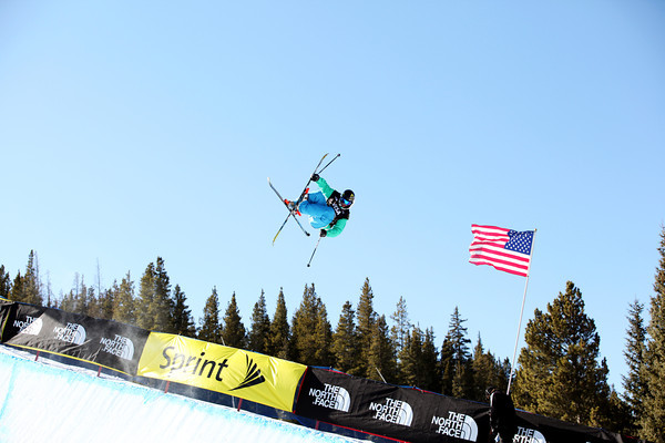 David Wise skis the pipe at Copper Mountain.