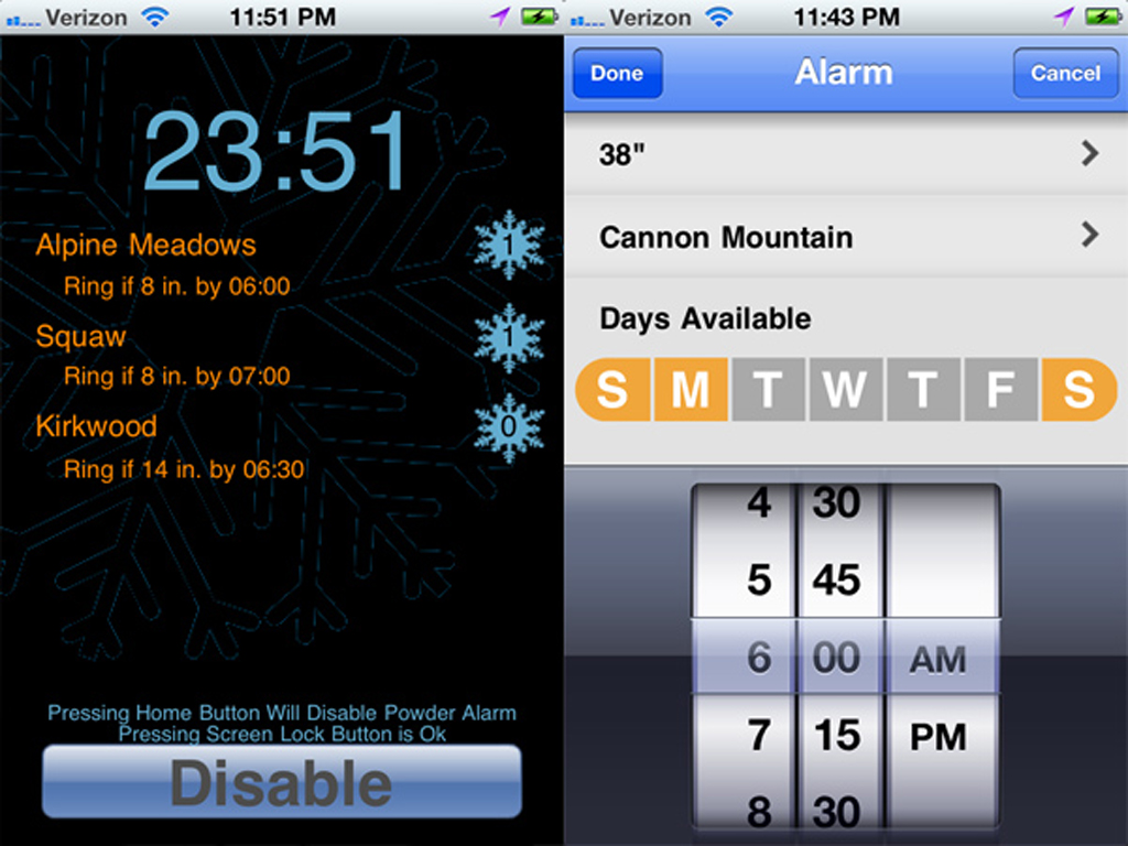 Snow Alert and Powder Alarm iPhone Apps