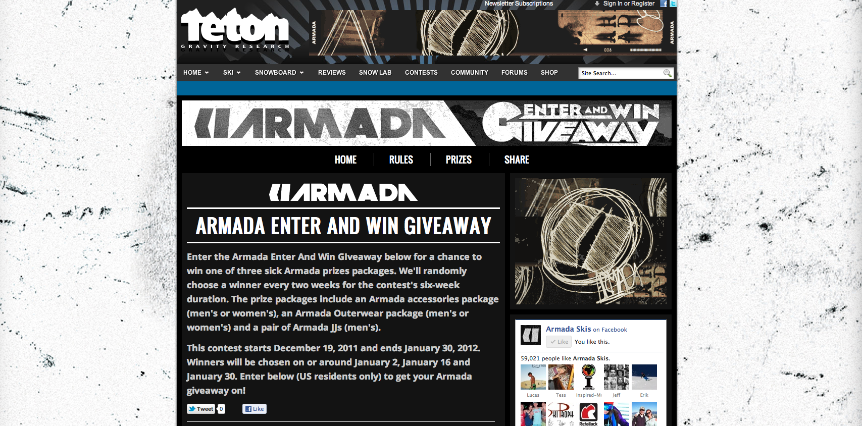 Armada Enter And Win Giveaway Contest Screen Shot