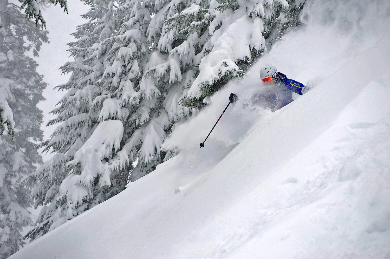 Amie Engerbretson skis Stevens Pass. Photo by Ian Coble.