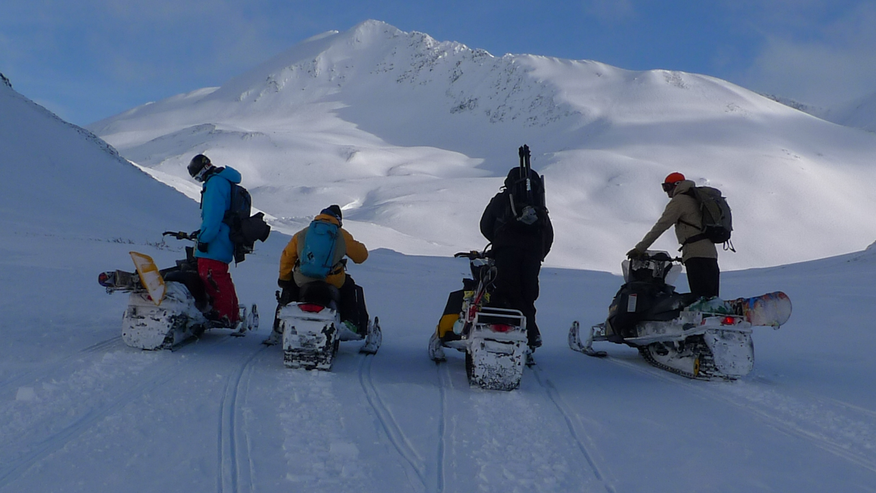 The Girdwood Crew On Sleds by Pete O'Brien