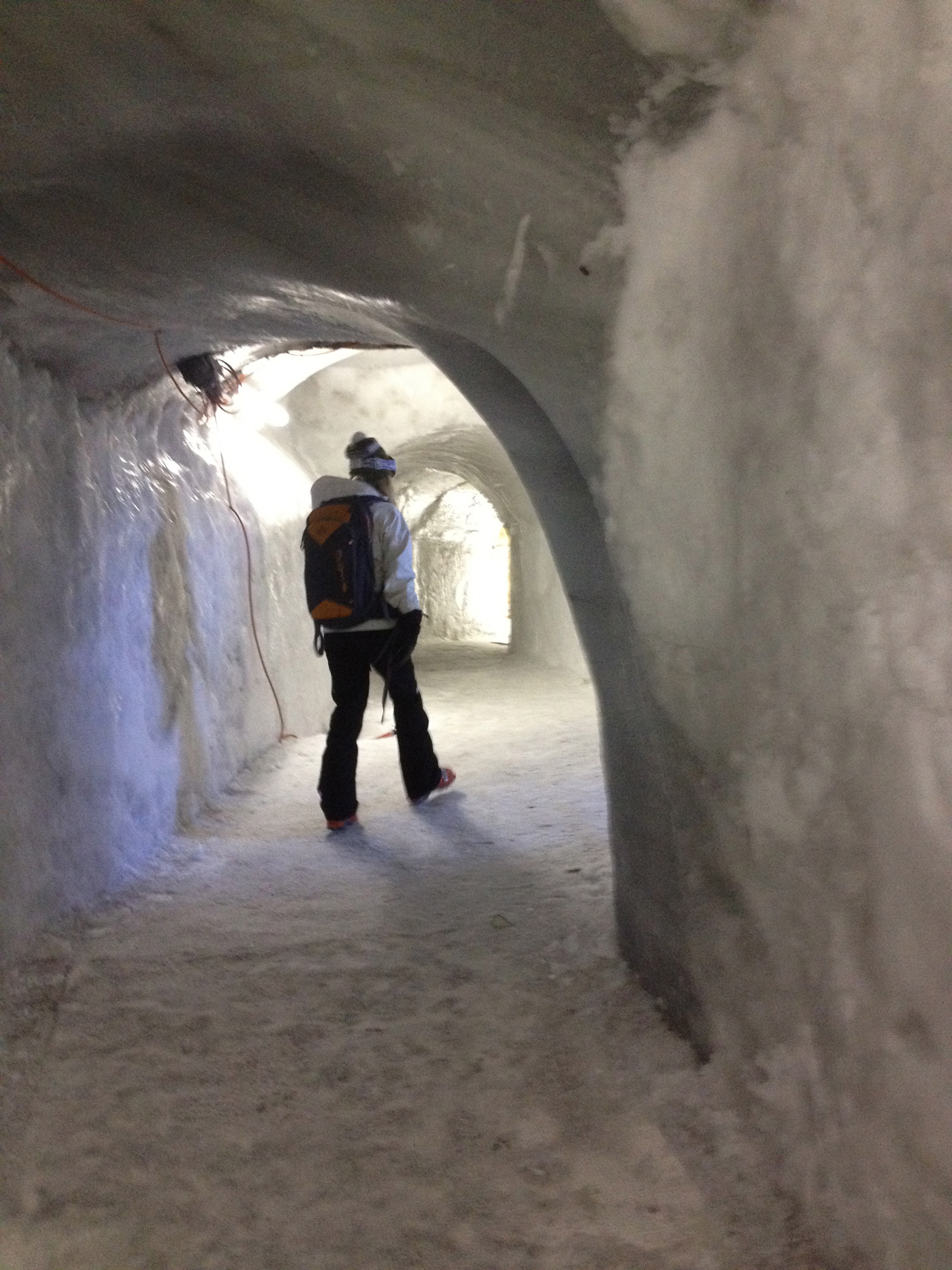 The top station at Engelberg has an ice cave complete with tunnels and an ice bar.