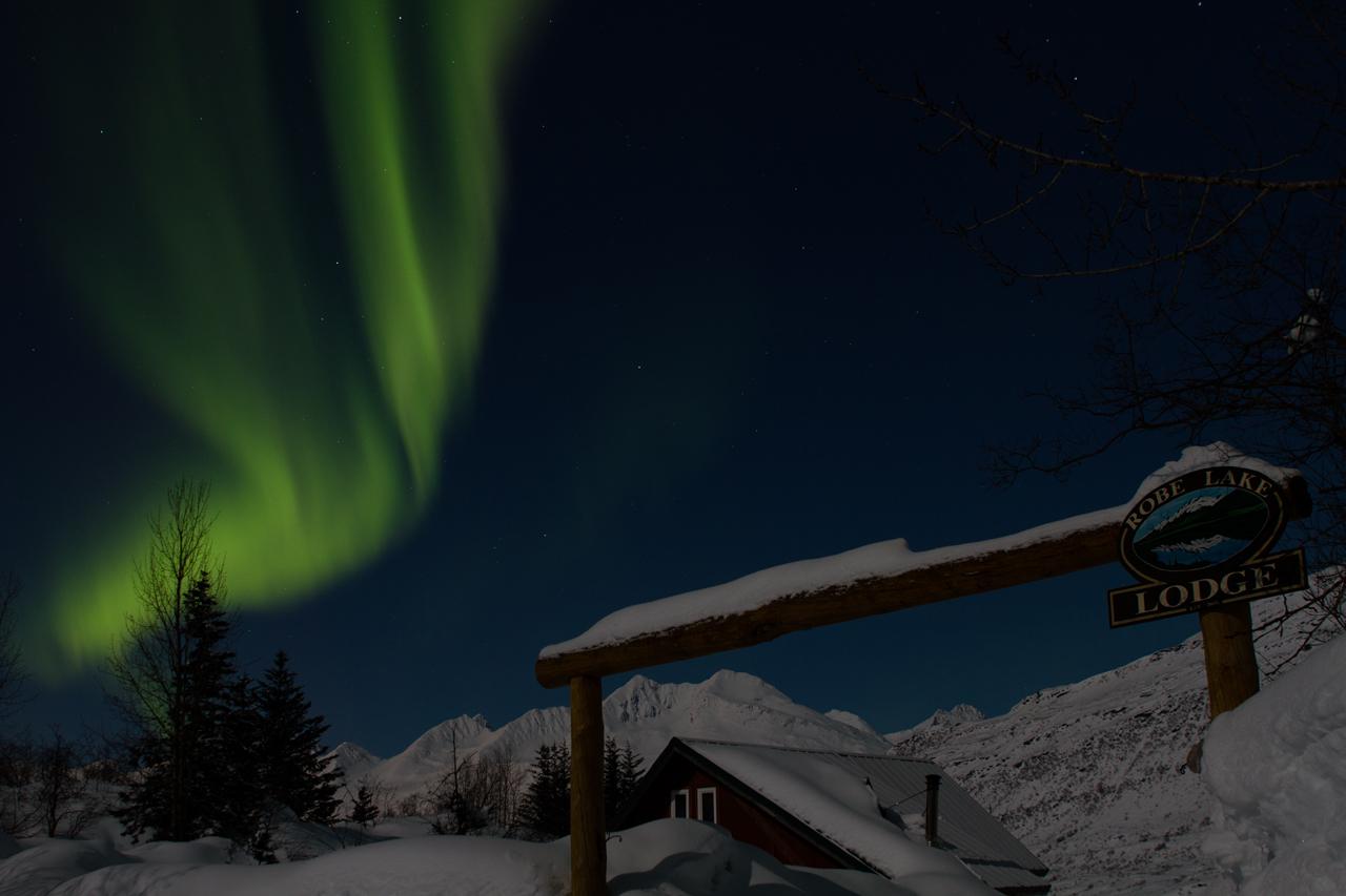 Northern lights above Robe lake Lodge
