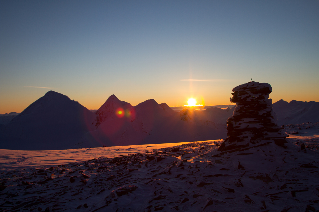 Top of Stairway watching the sun go down over the Chugach