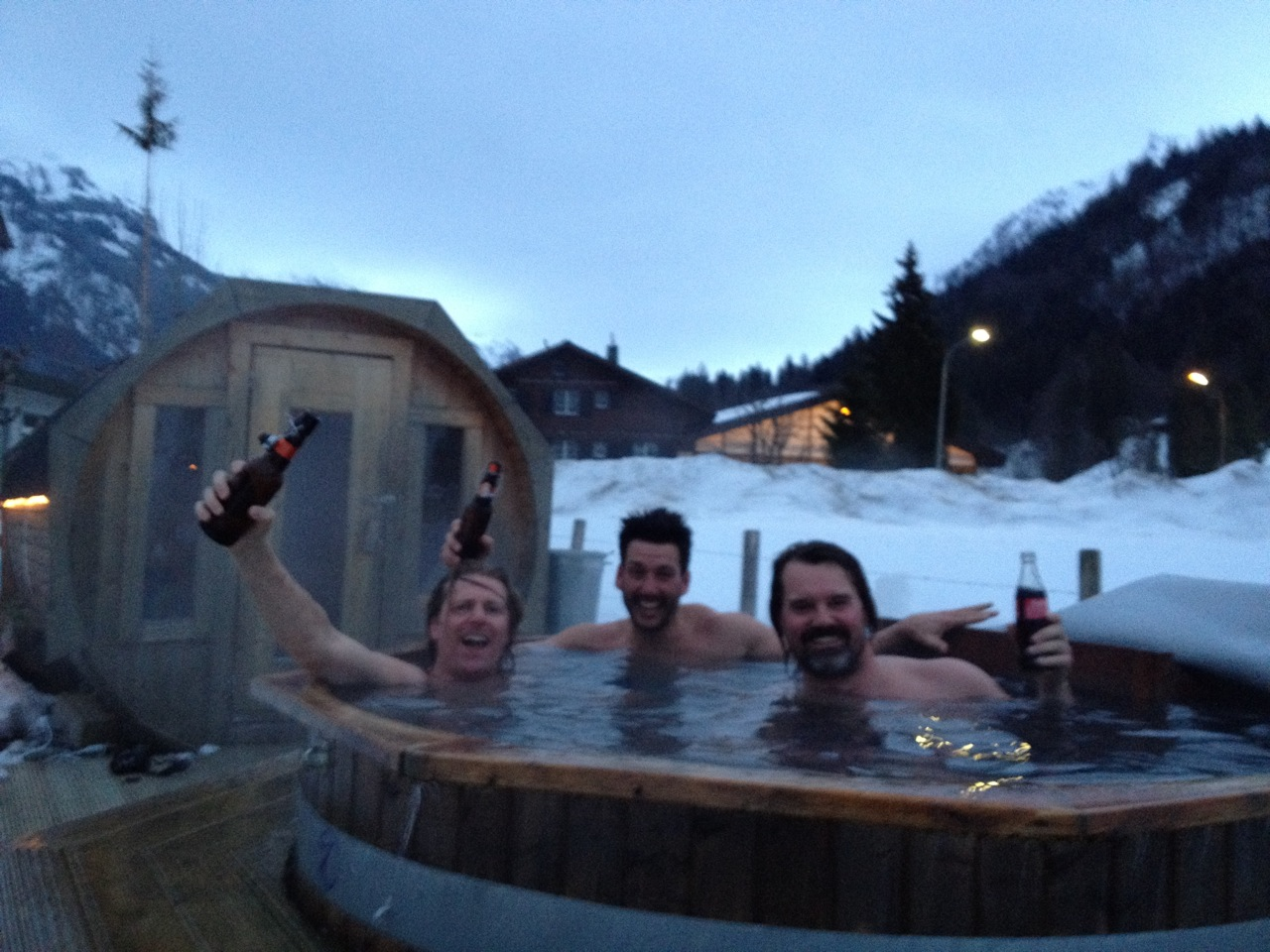 Hot tubbing at The Ski Lodge after an amazing day. Chris from Oneill, Joseph from The North Face, and one of the boys...