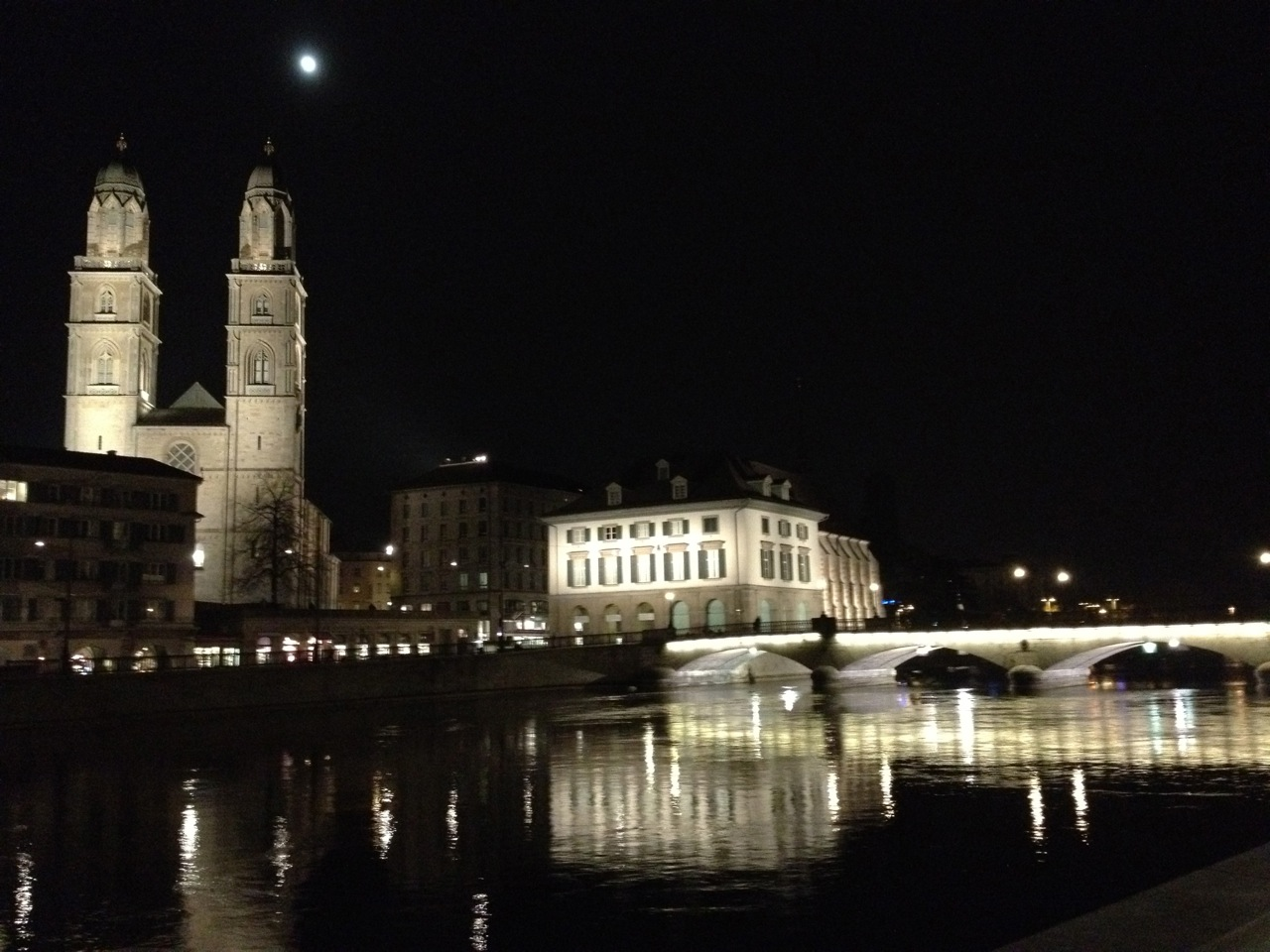 Zurich is one of the most picturesque cities in central Europe. A great way to finish the trip... full moon over town.