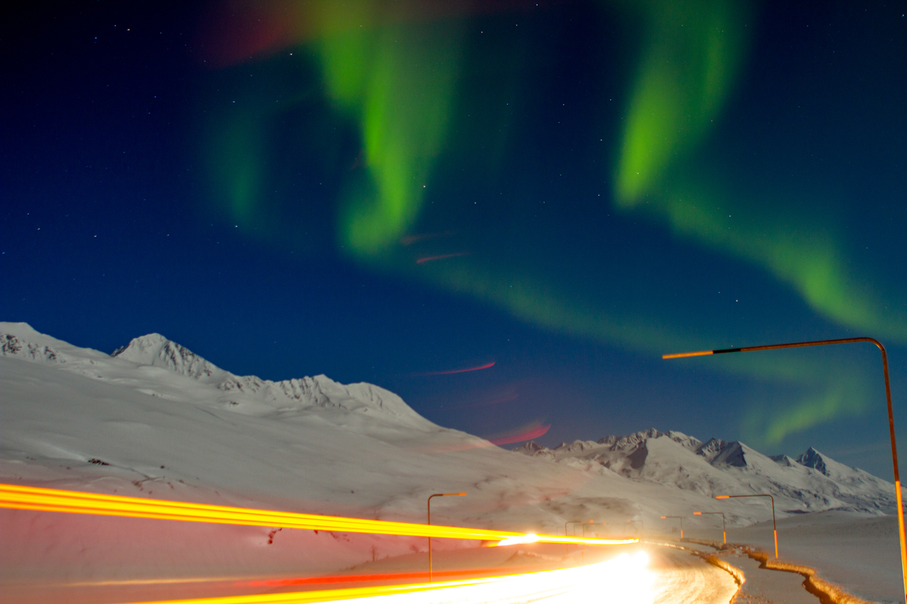 Oil truck coming from Valdez under the northern lights