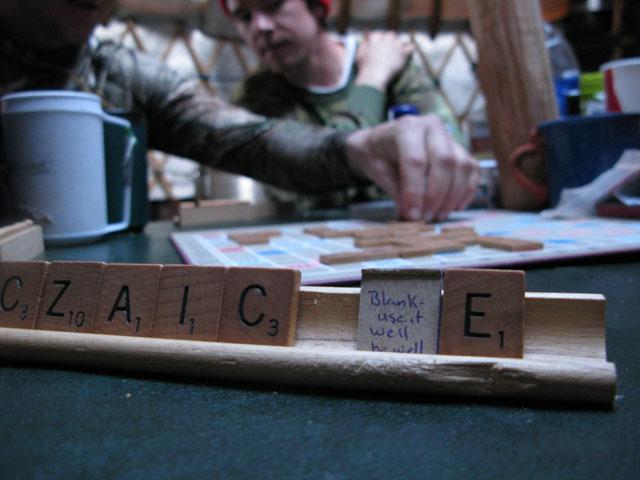 Scrabble in the yurt