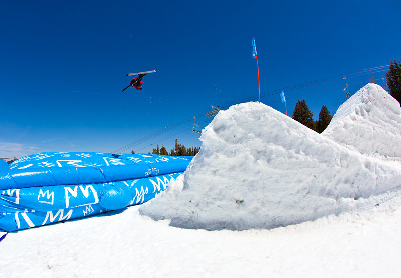 Alex Schlopy hitting the airbag at Mammoth Mountain