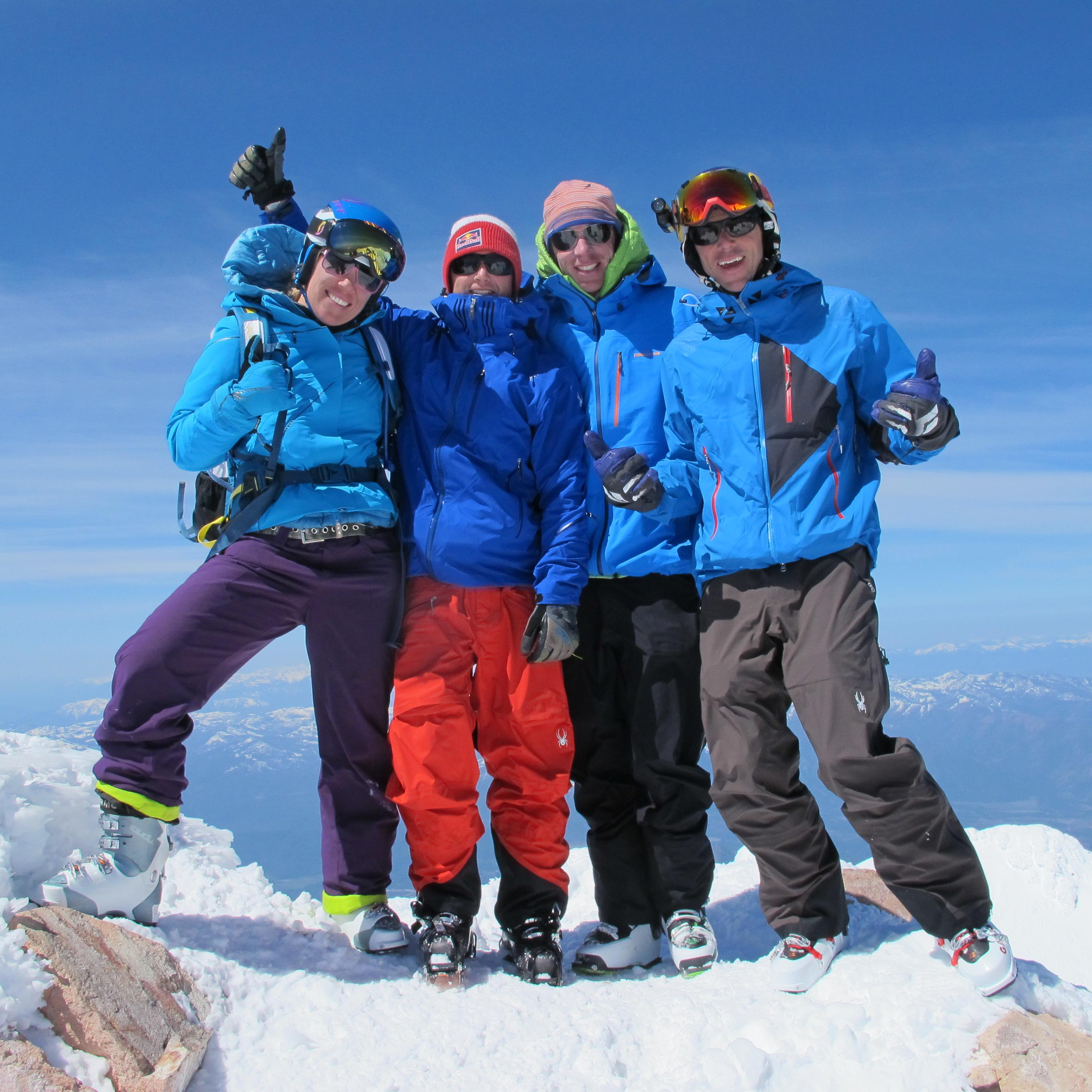 Chris Carr, Jim Morrison, Jess McMillan, and Chris Davenport on top of Mount Shasta