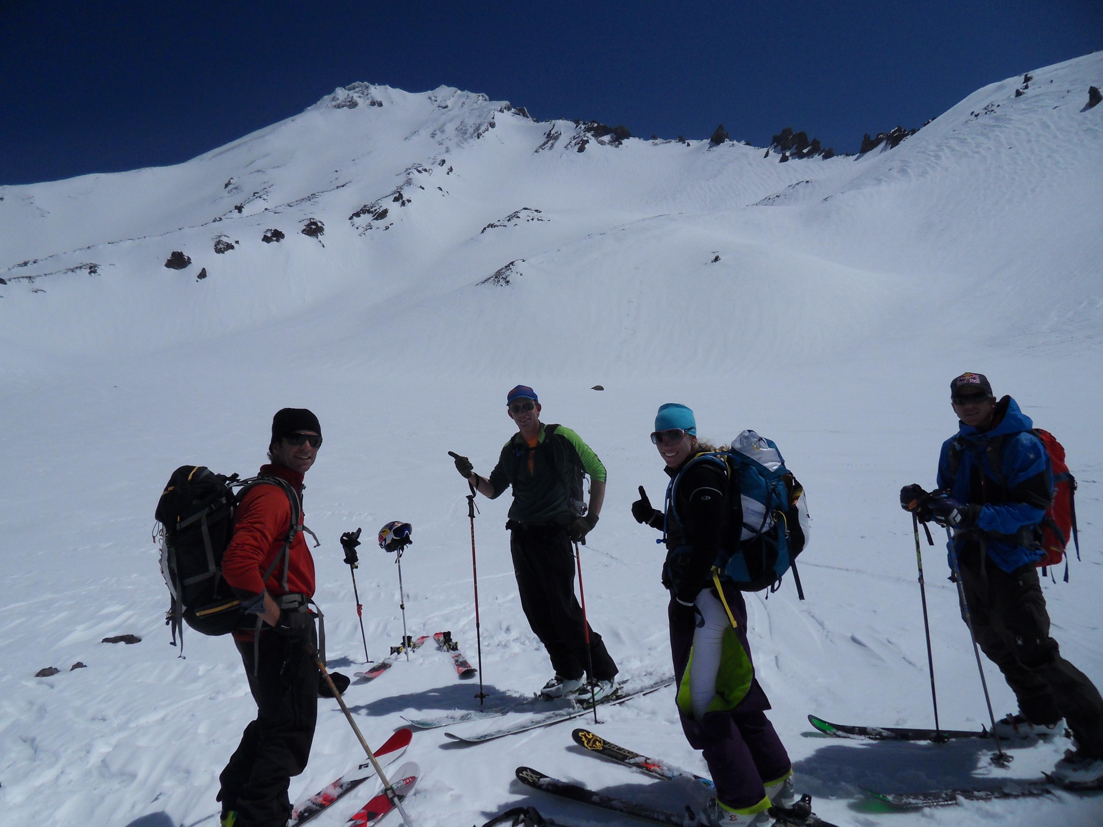 Chris Carr, Jim Morrison, Jess McMillan, and Chris Davenport after skiing West Face of Mount Shasta
