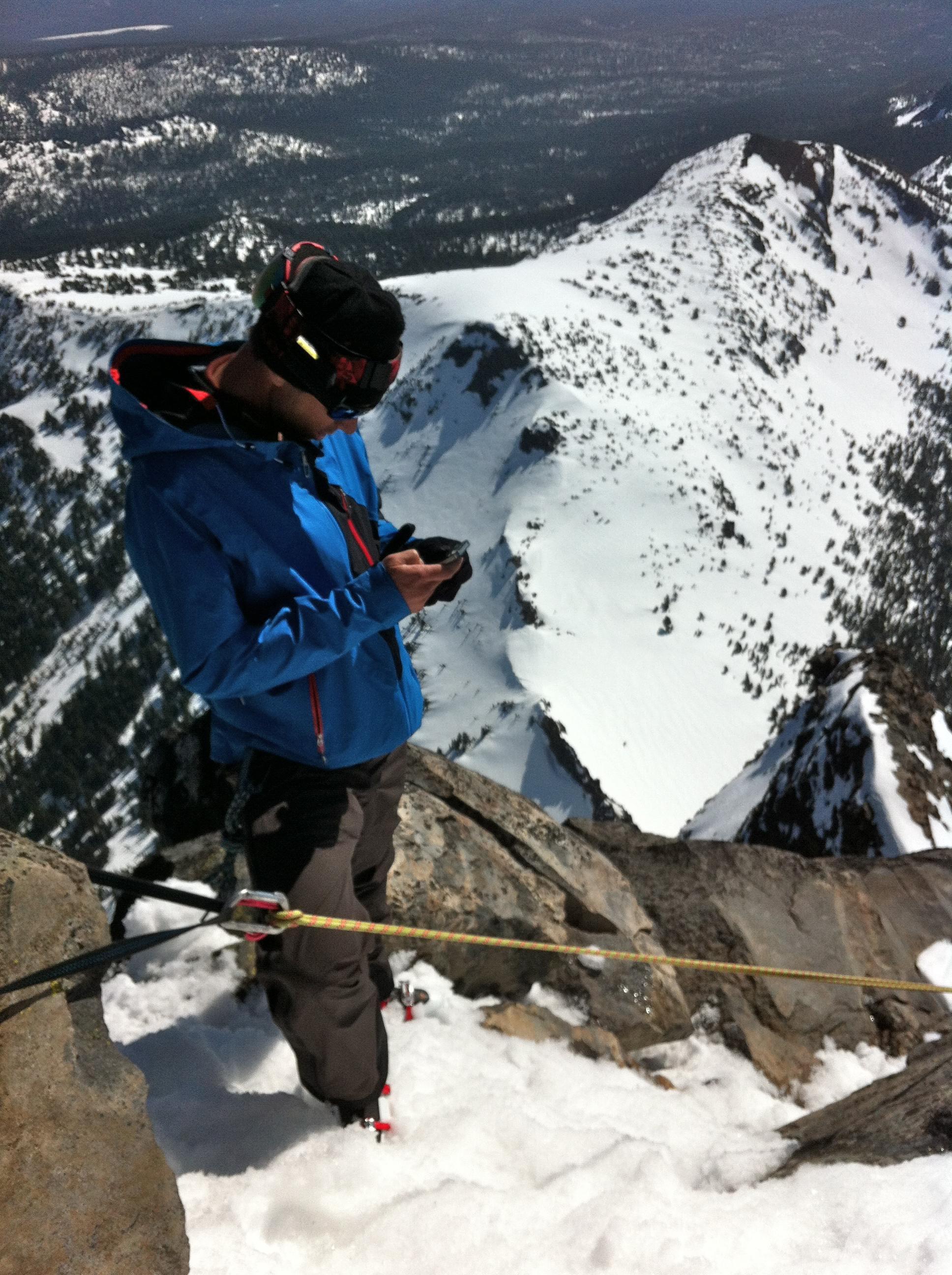 Chris Davenport on the summit of Oregon's Mount Thielsen