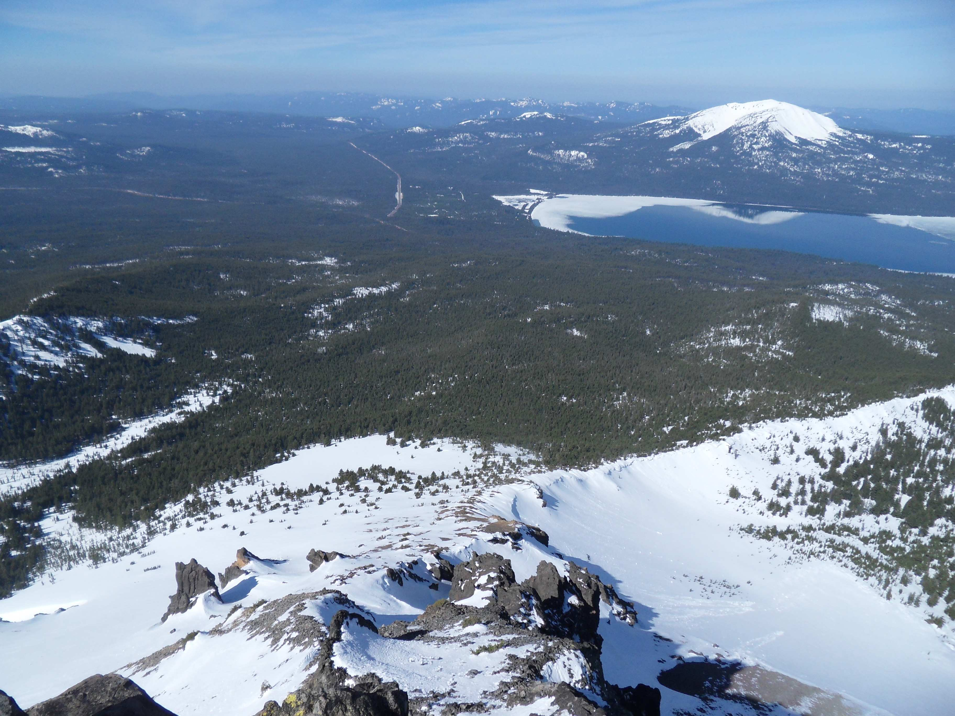 Looking at Diamond Lake and Mount Bailey from the summit of Oregon's Mount Thielsen