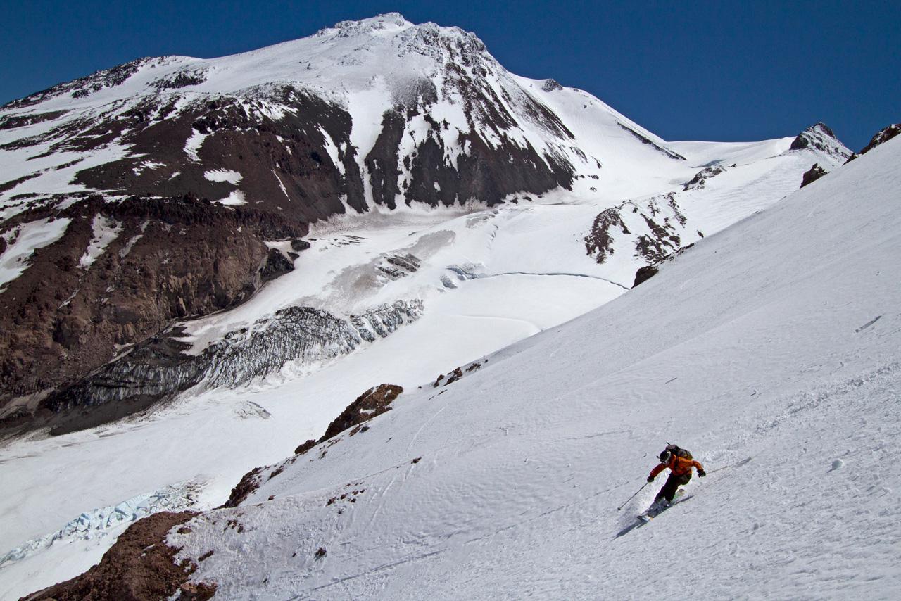 Brennan Lagasse skis the northeast face of Shastina, a Mt. Shasta sub peak