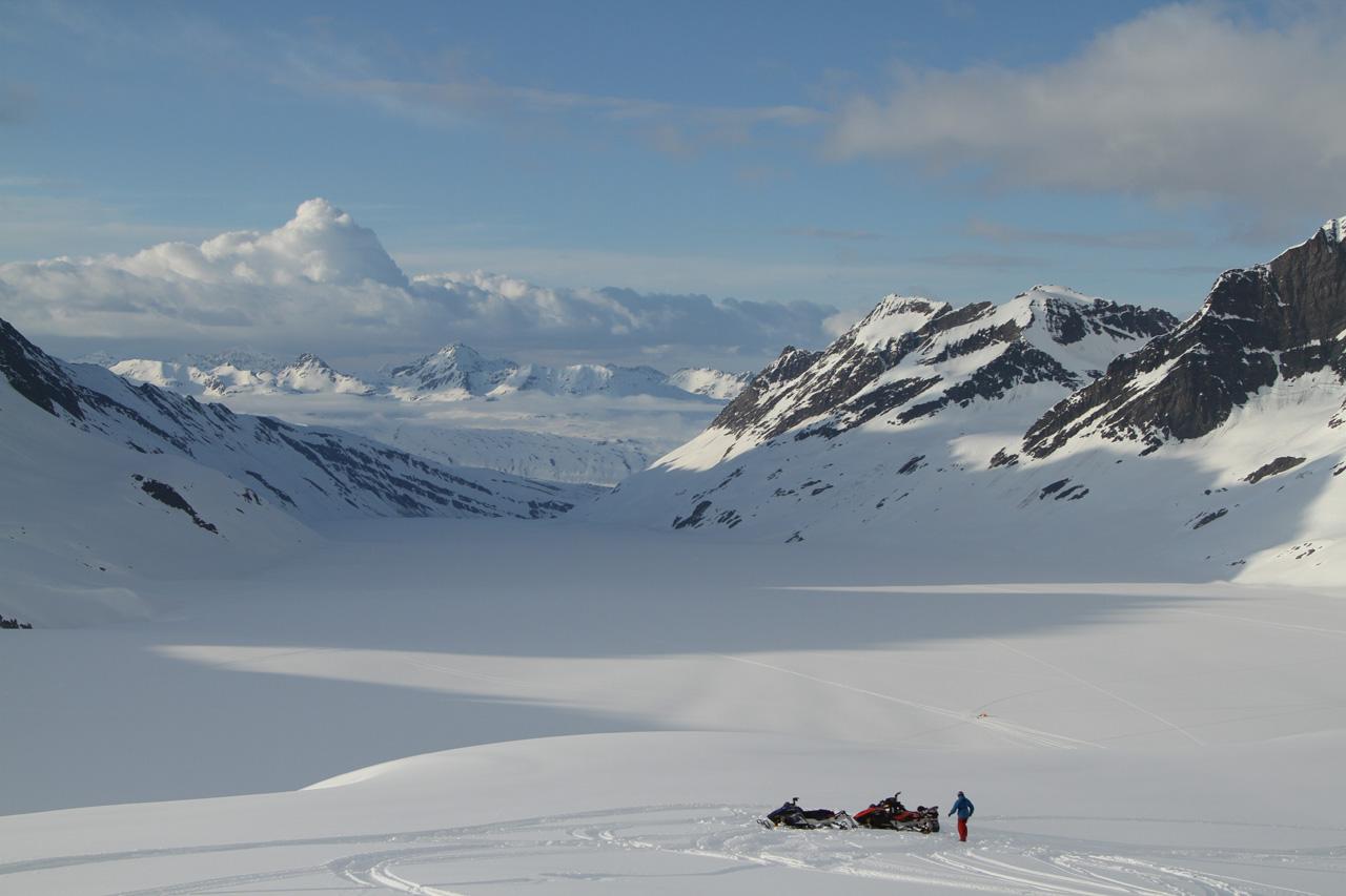 The Crew Sleds Deep in the Chugach Between Valdez and Cordova Alaska