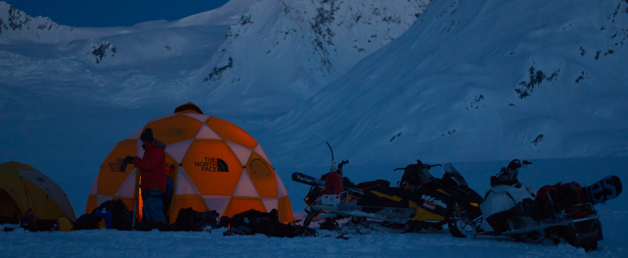 The sun goes down on the TGR camp in the Chugach mountains