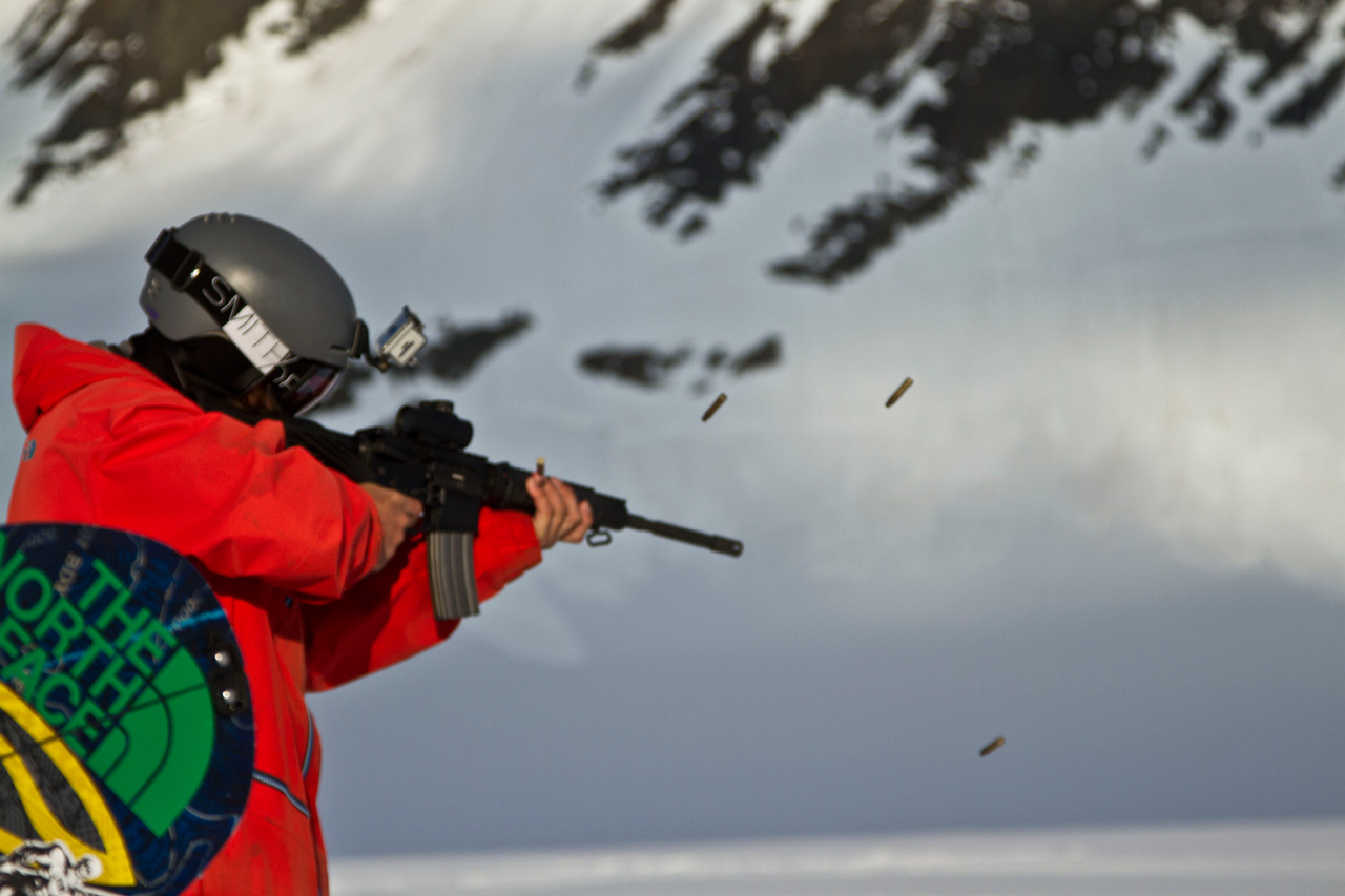 Ralph Backstrom shoots a semiautomatic assault rifle