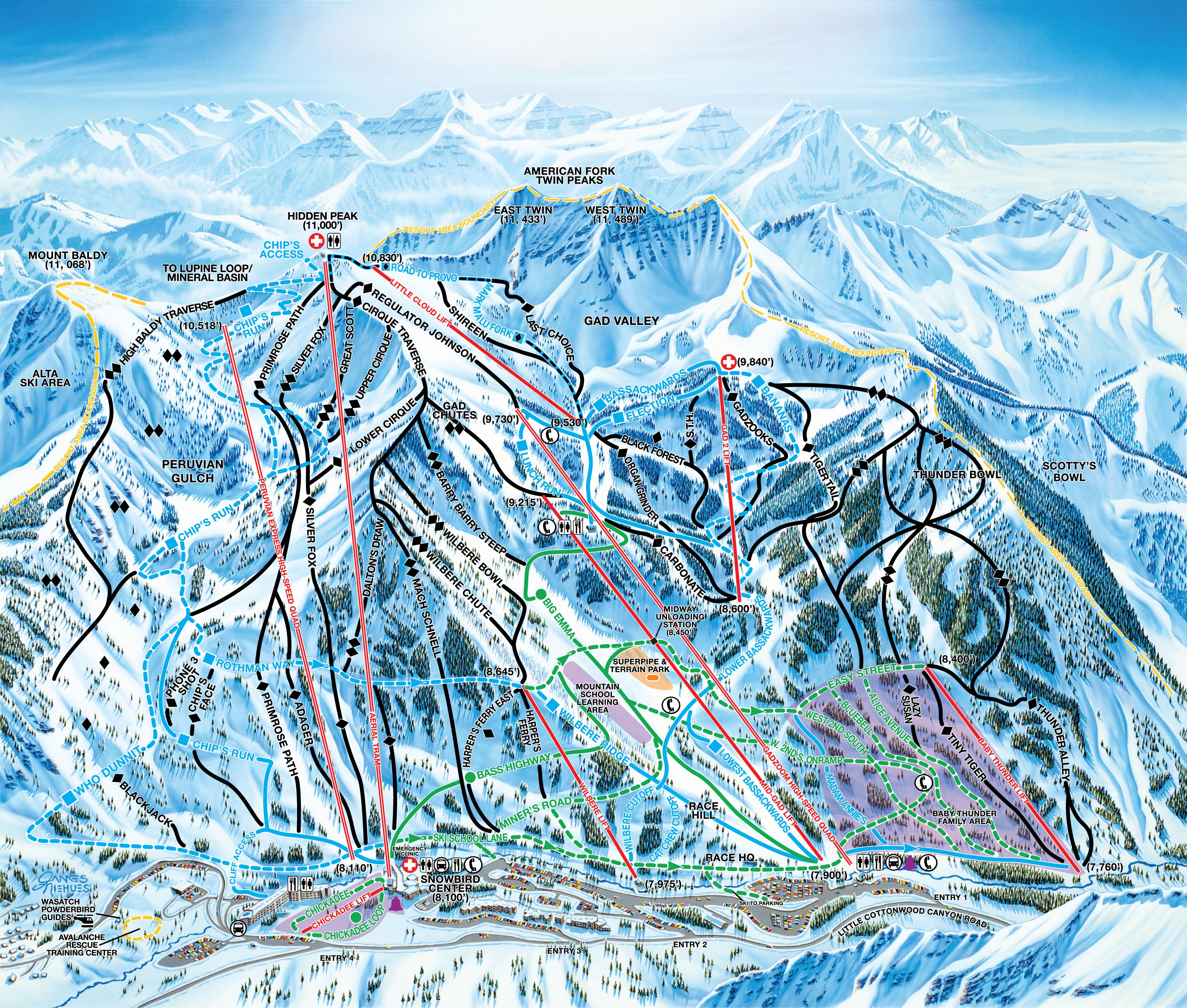 Snowbird Trail Map Utah