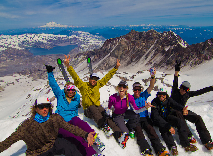 The Spyder crew on top of Mount St. Helens