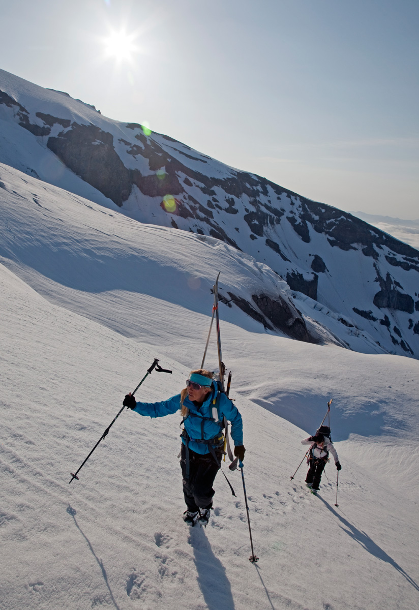 Jess McMillan and Christy Mahon skin up Mount Rainier
