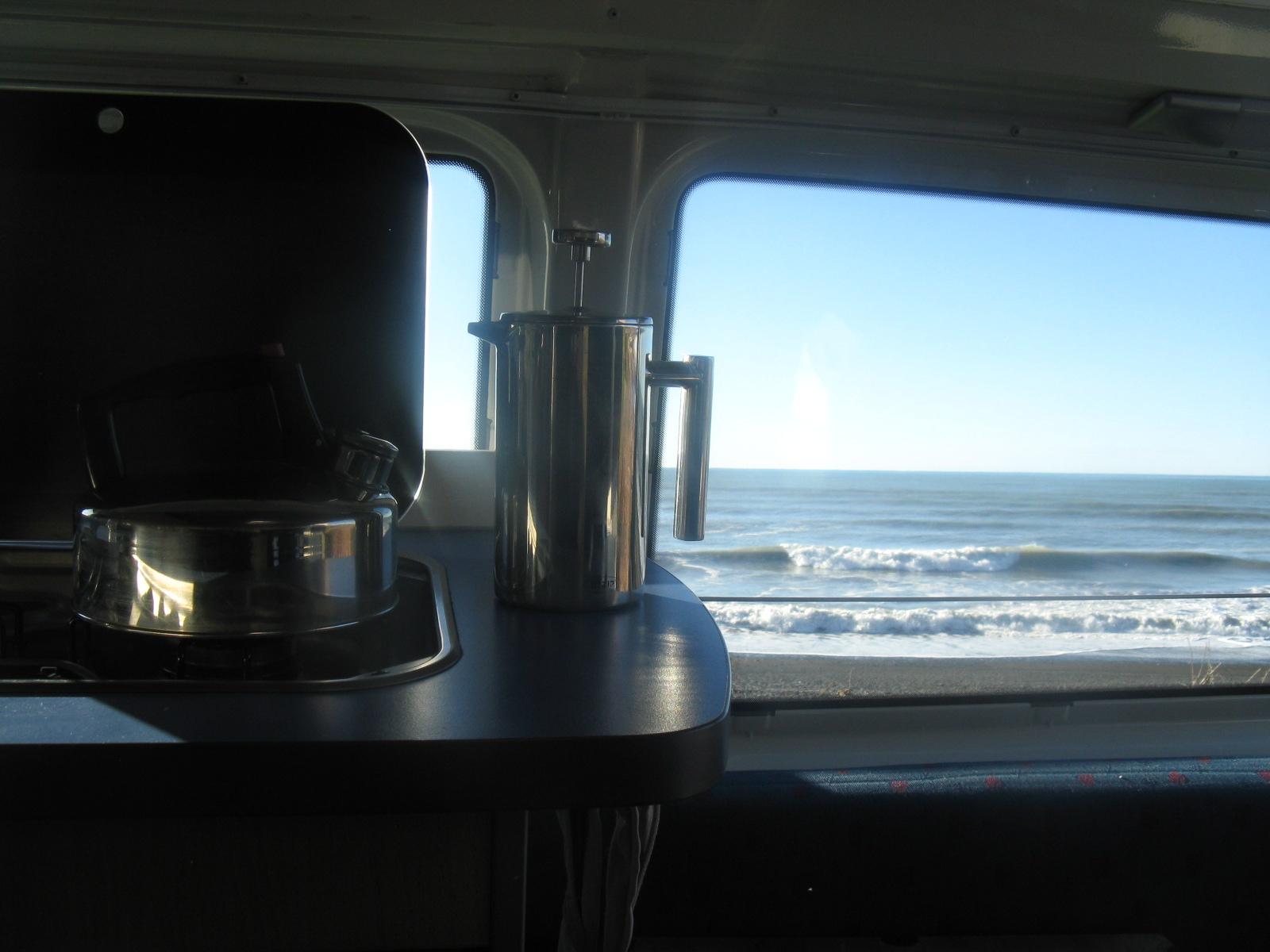 Living in your van down by the ocean in New Zealand