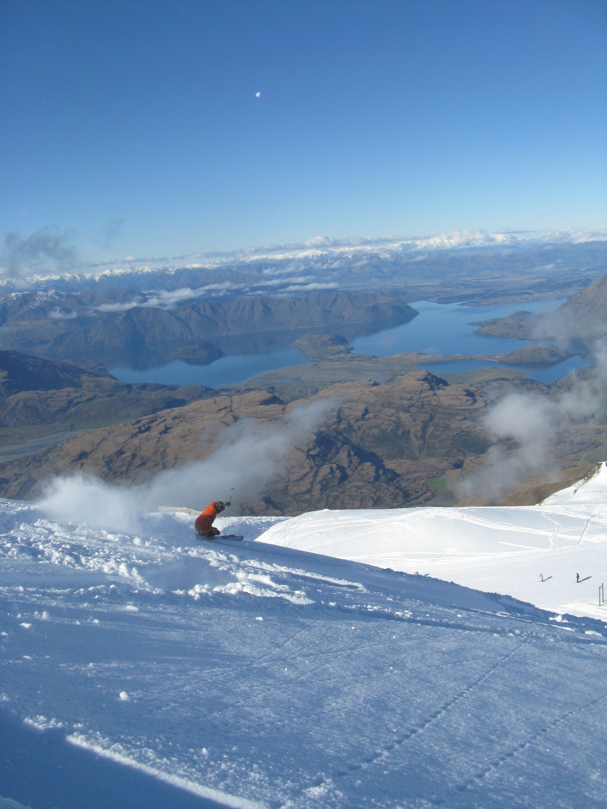 More powder skiing at Treble Cone in New Zealand