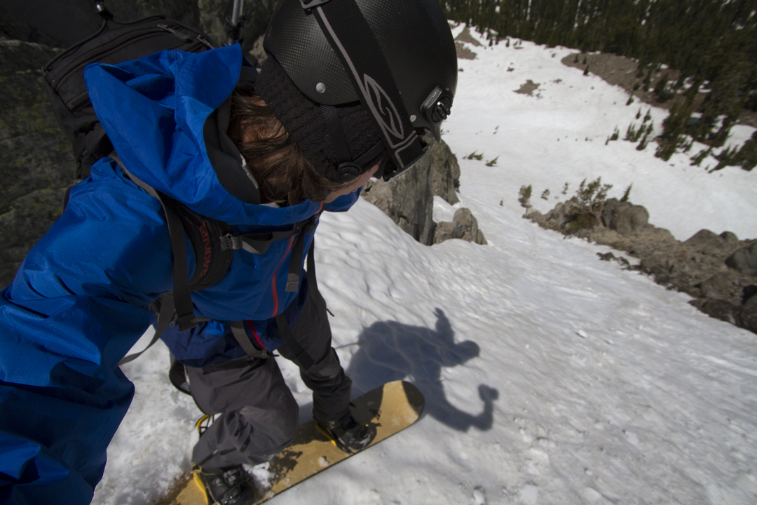 Dropping in to a chute in the sierras