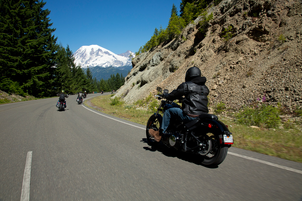 The author, Eric Seymour, riding the Softtail Blackline in front of Mount Rainier