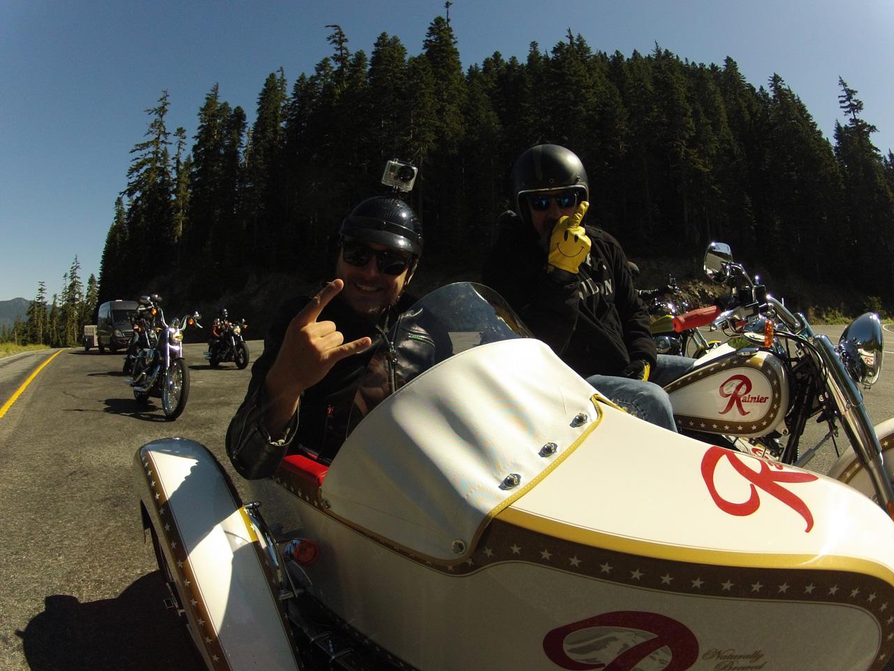 Riding through Mount Rainier National Park