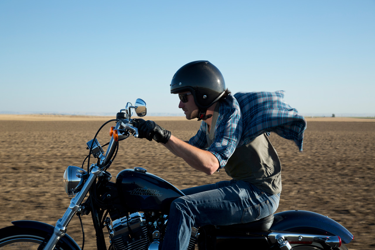 Wind in the face never felt so good. Riding the Sportster Seventy-Two