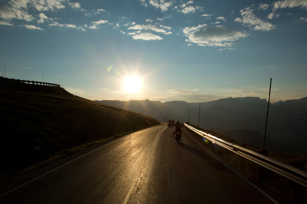 Riding into the sun on Beartooth Pass
