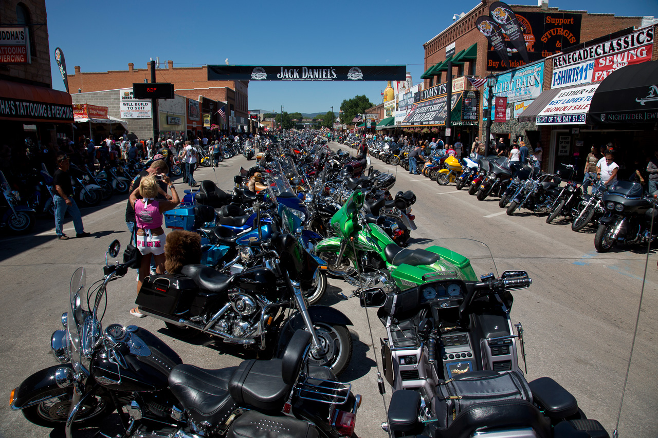 The streets are lined with bikes in Sturgis, South Dakota