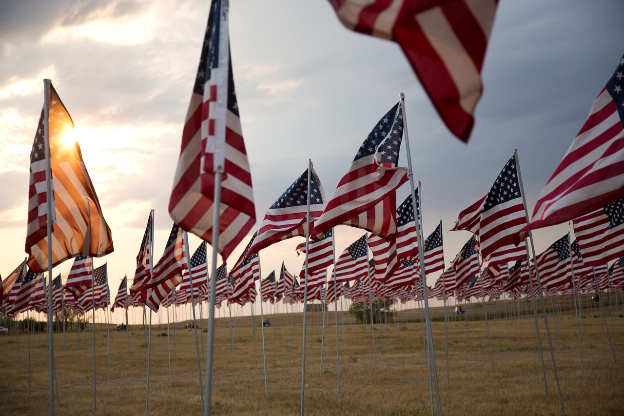 American Flags at Sturgis