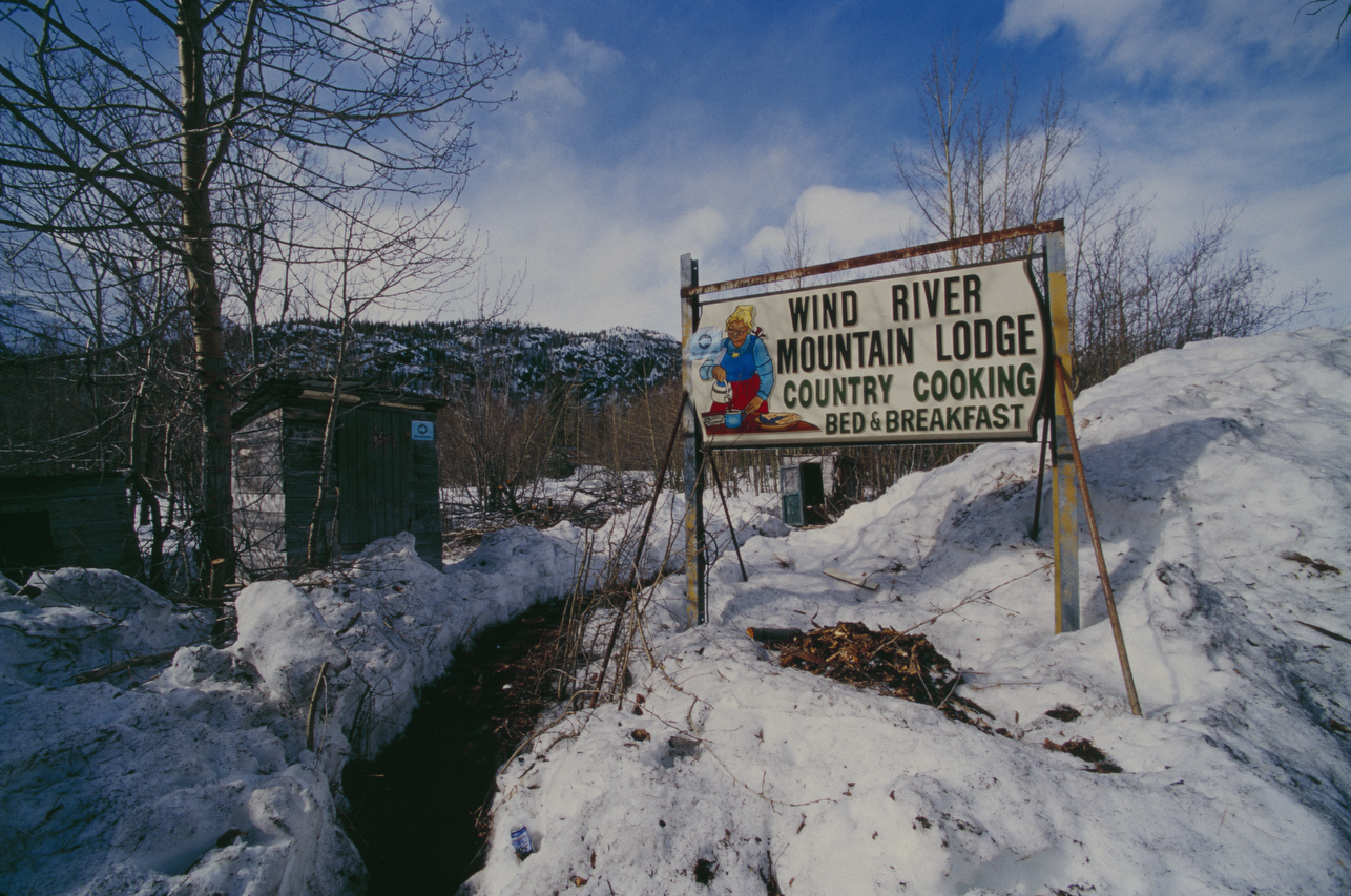 The old Wind River Mountain Lodge sign