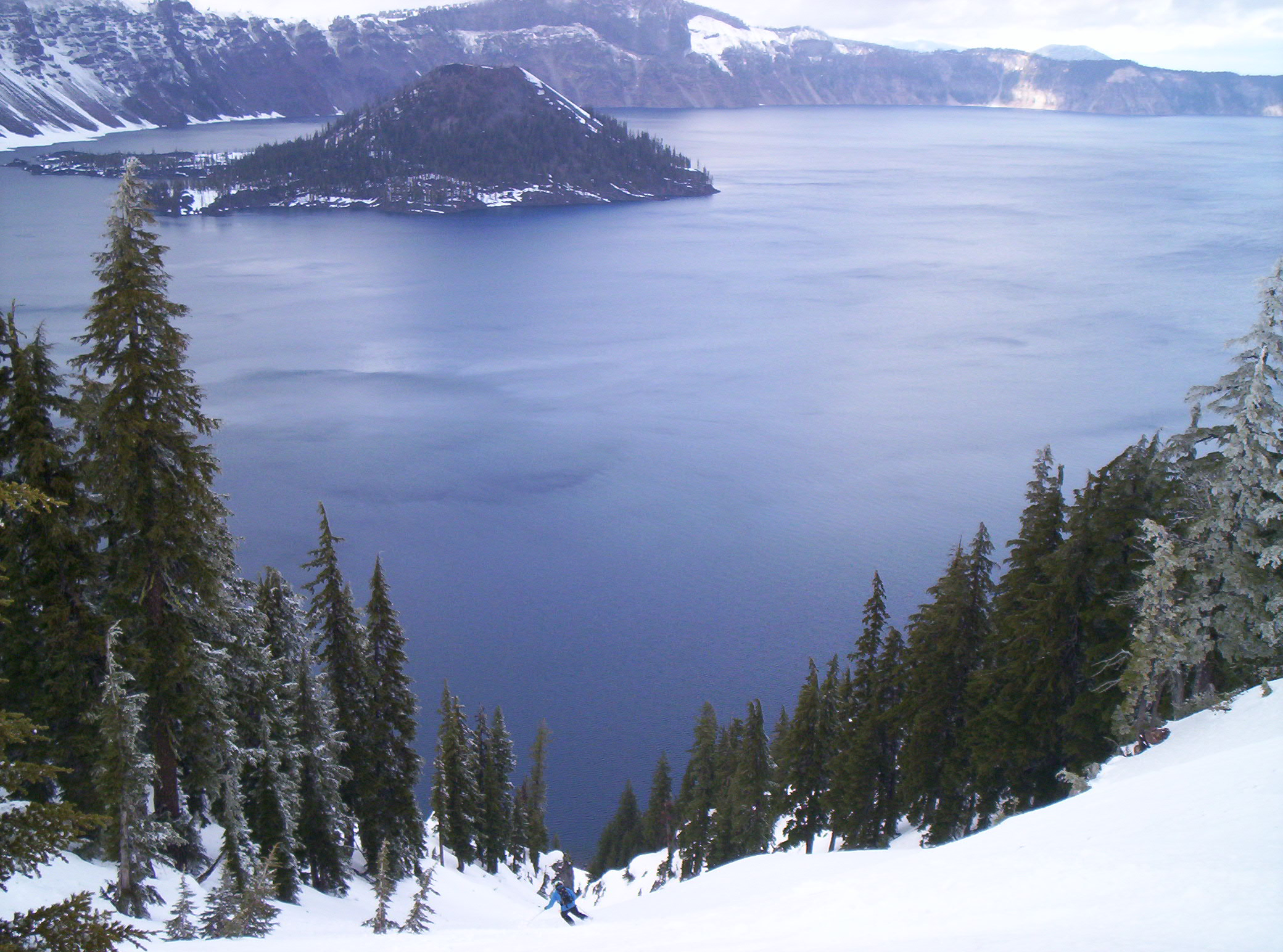Skiing in to Crater Lake