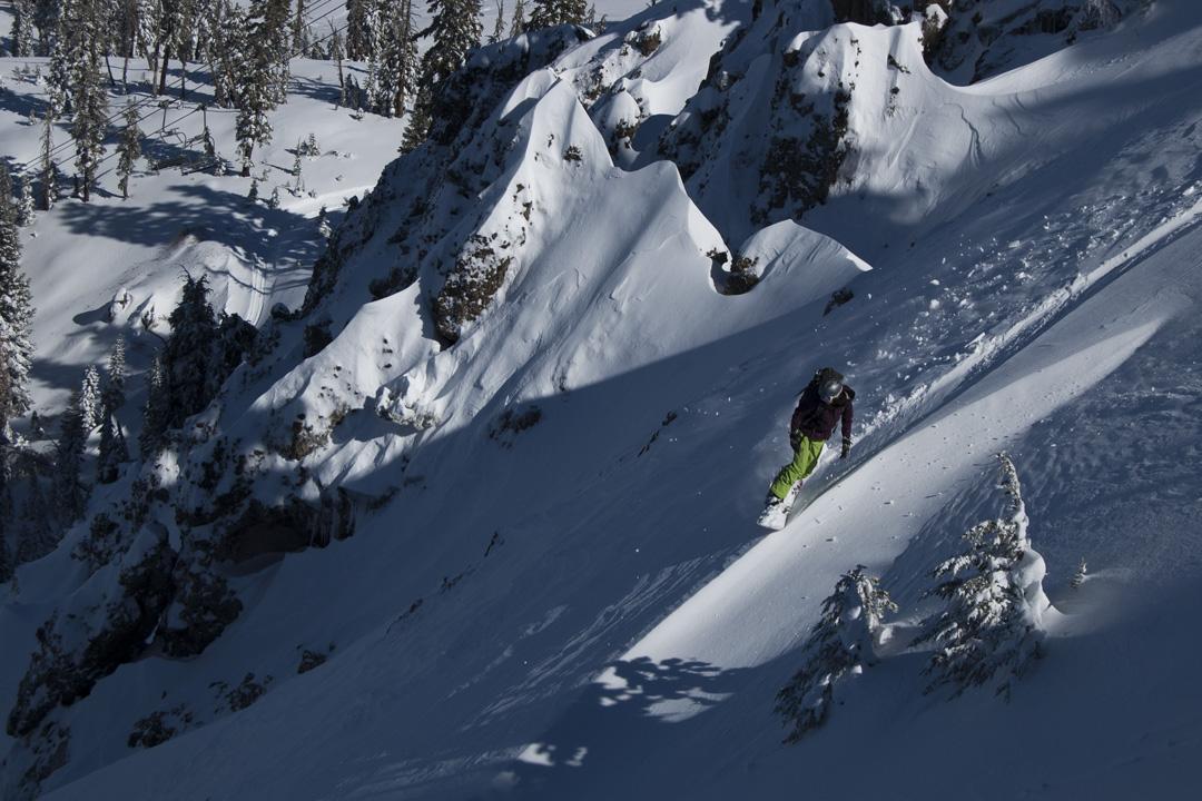 Allison Lightcap slashes deep snow on Donner Summit