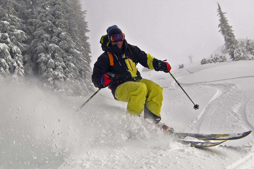 Daron Rahlves out skiing October powder in Tahoe